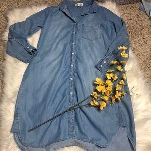 Cloth and Stone Chambray Tunic Dress. Size Large